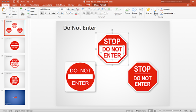 Do Not Enter Signs created with shapes in PowerPoint
