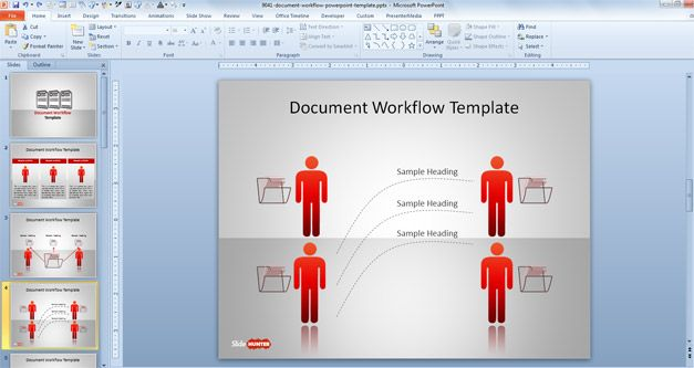 Free Document Workflow PowerPoint Template