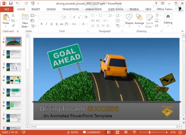 driving towards success powerpoint template