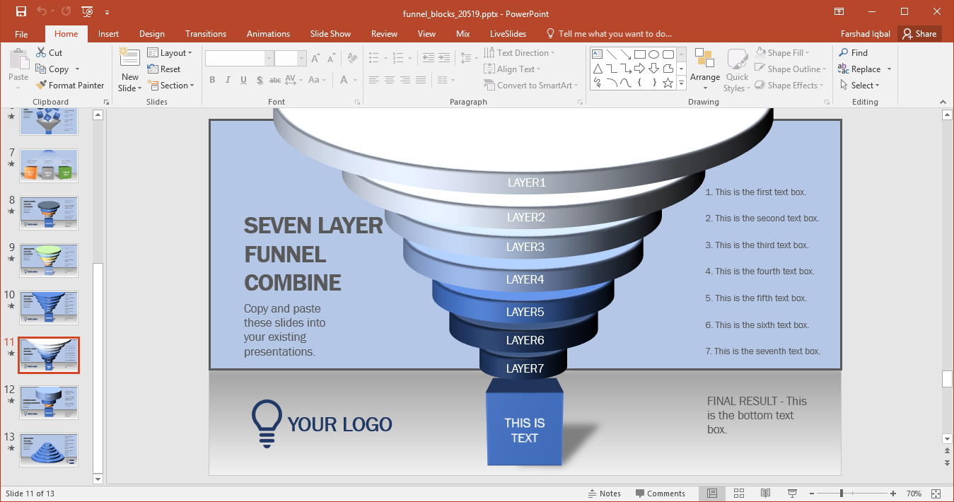 stacked diagram for making sales funnels