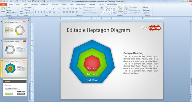 heptagon powerpoint template diagram