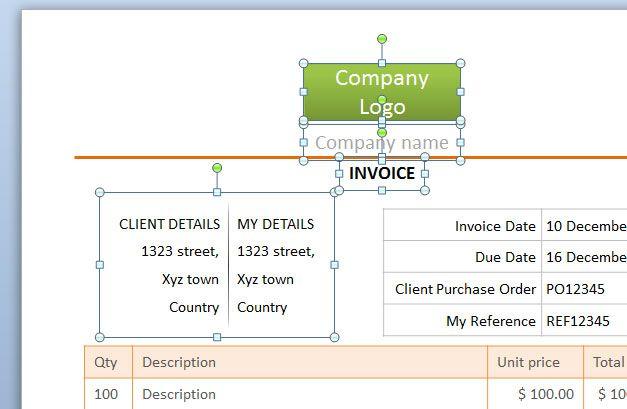 editable invoice shapes