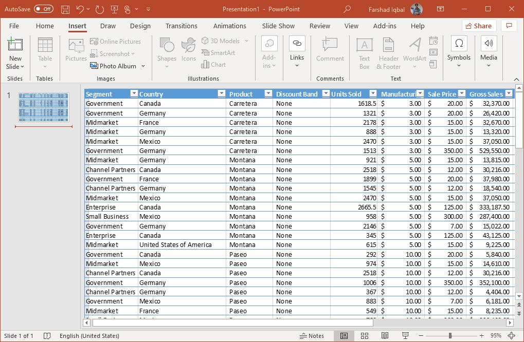 excel data in powerpoint