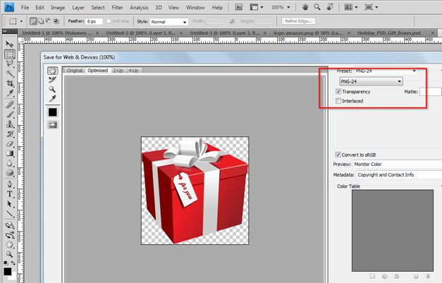 gift export psd template photoshop