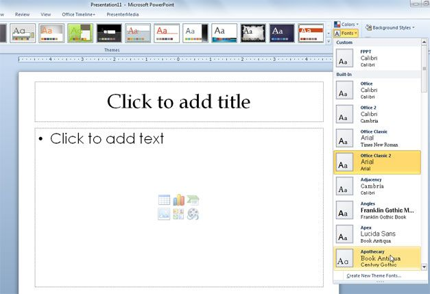 font powerpoint 2010