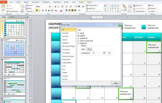 create calendar powerpoint