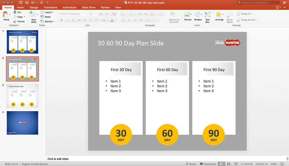 Free 30 60 90 day plan template for PowerPoint with 3 columns