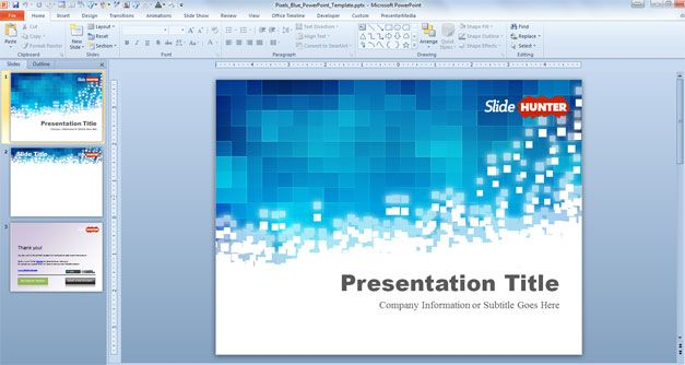 Free blue PowerPoint template with pixels and original slide design