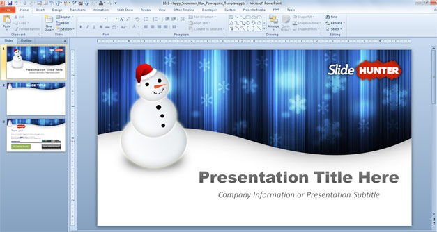 Blue Christmas PowerPoint template 2013