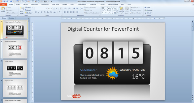Counter PowerPoint Template with Black Digital Clock Shape