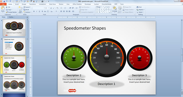Three Dashboard Speedometer Shapes for PowerPoint