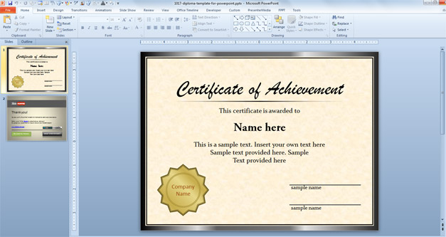 Free Diploma Template for PowerPoint