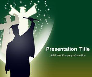 Graduation PowerPoint Template Green Background