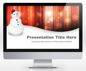 Widescreen Happy Snowman Orange Powerpoint Template (16×9)
