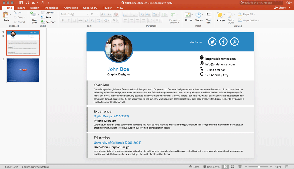 Free One Slide Resume Template for PowerPoint