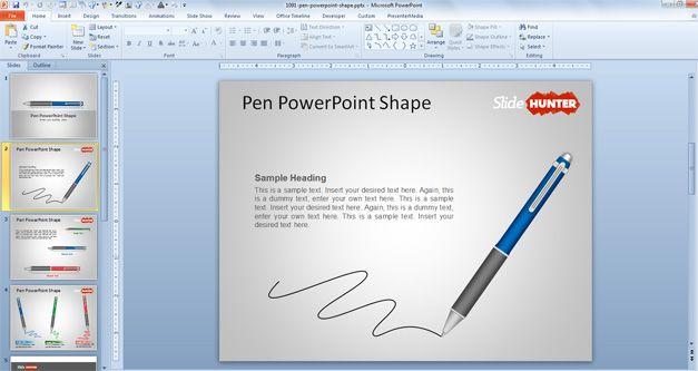 download free Pen PowerPoint template vectors