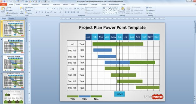 Free Project Plan PowerPoint Template showing a Gantt chart created with shapes