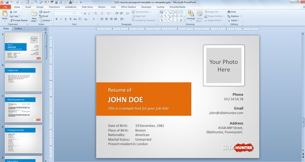 Resume template for PowerPoint presentations with Orange