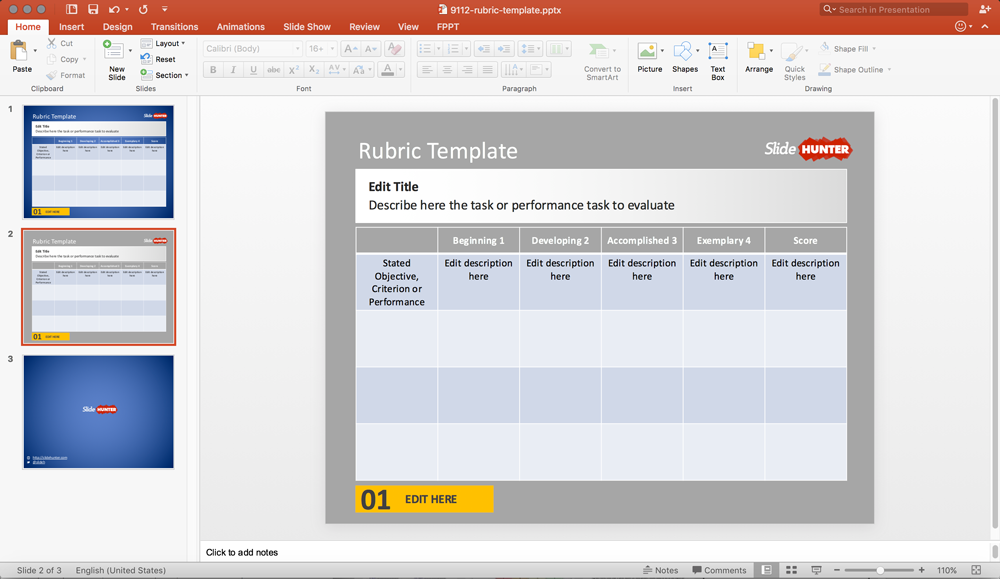 Free Editable Rubric Scoring Template for Microsoft PowerPoint