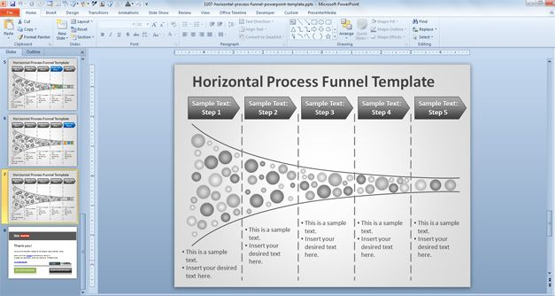 Horizontal Process Funnel PowerPoint Template