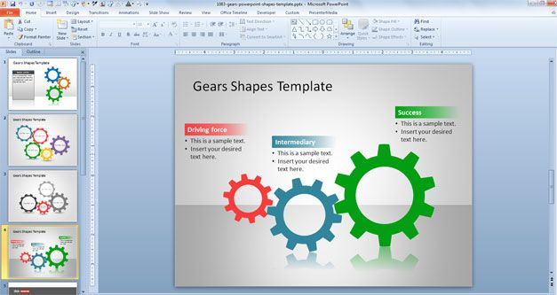 free Gears PowerPoint Shapes Template