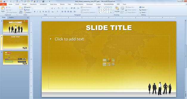 Global leadership PowerPoint template with gold background design