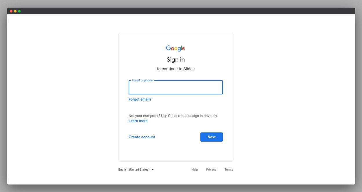 Google Slides Login screenshot