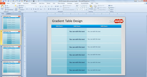 Free Table Design PowerPoint with gradient background and blue cyan color