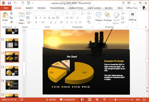 graph with oil rig background