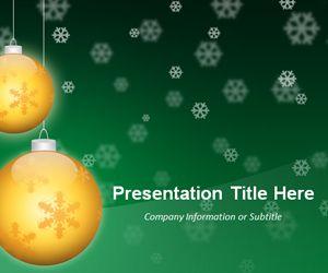 Golden Balls Green PowerPoint Template