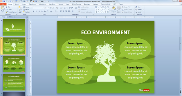 Social Non Profit Sustainability PowerPoint Slide Design with Green background