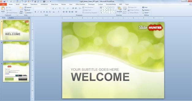 Free Green Bokeh PowerPoint Template