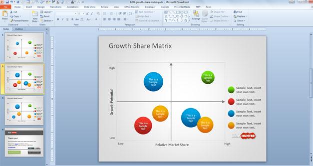 Creative Growth Share Matrix for PowerPoint based on the Boston Matrix slide design