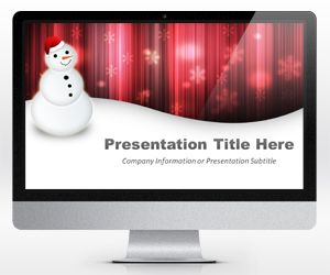 Widescreen Happy Snowman Red Powerpoint Template (16:9)