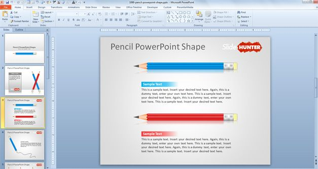 horizontal pencil vector for PowerPoint presentations