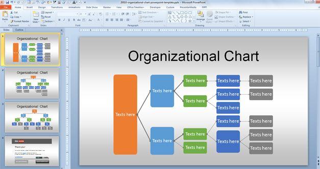 Horizontal Organizational Chart Template for Microsoft PowerPoint