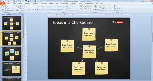 PowerPoint template with post-it notes