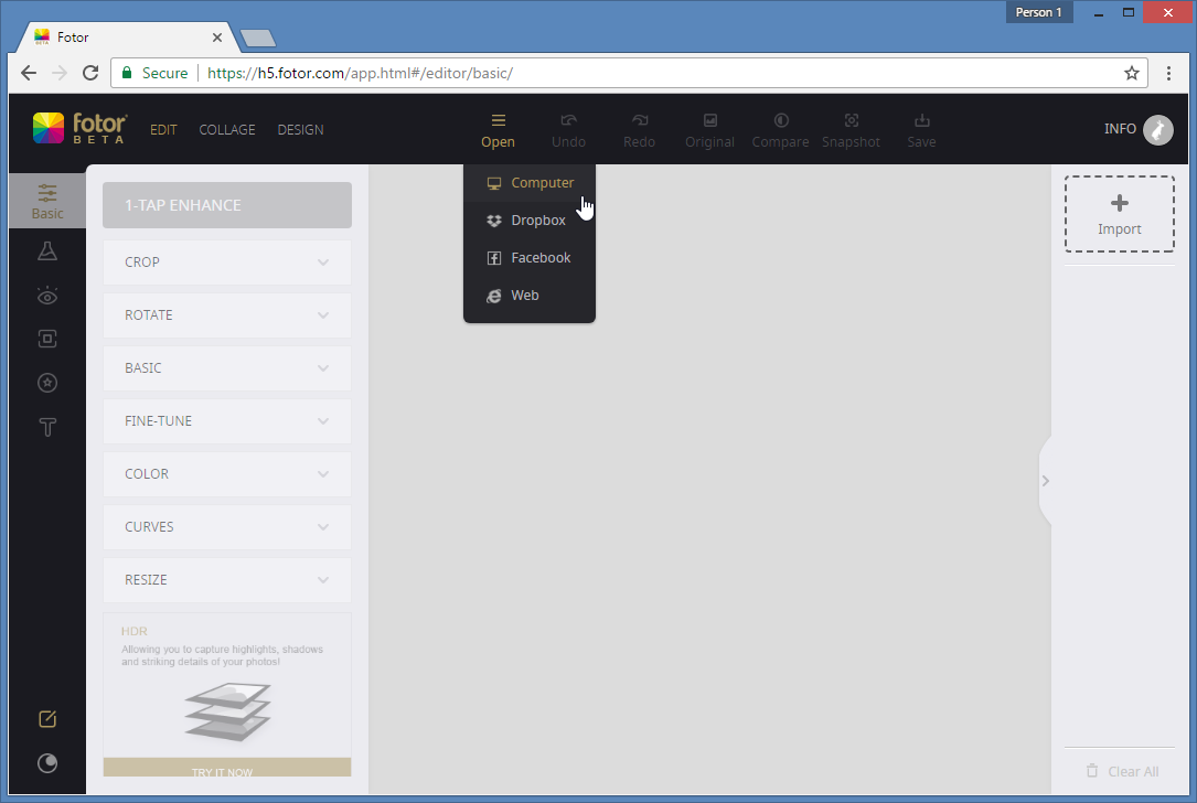 import images to fotor