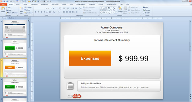 Free Income Statement PowerPoint Template - Expenses