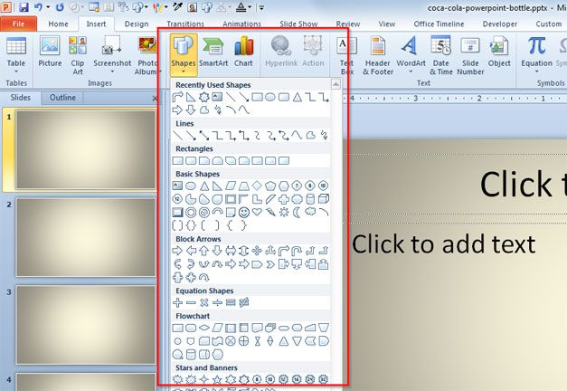How to Insert a Simple Shape in PowerPoint 2010