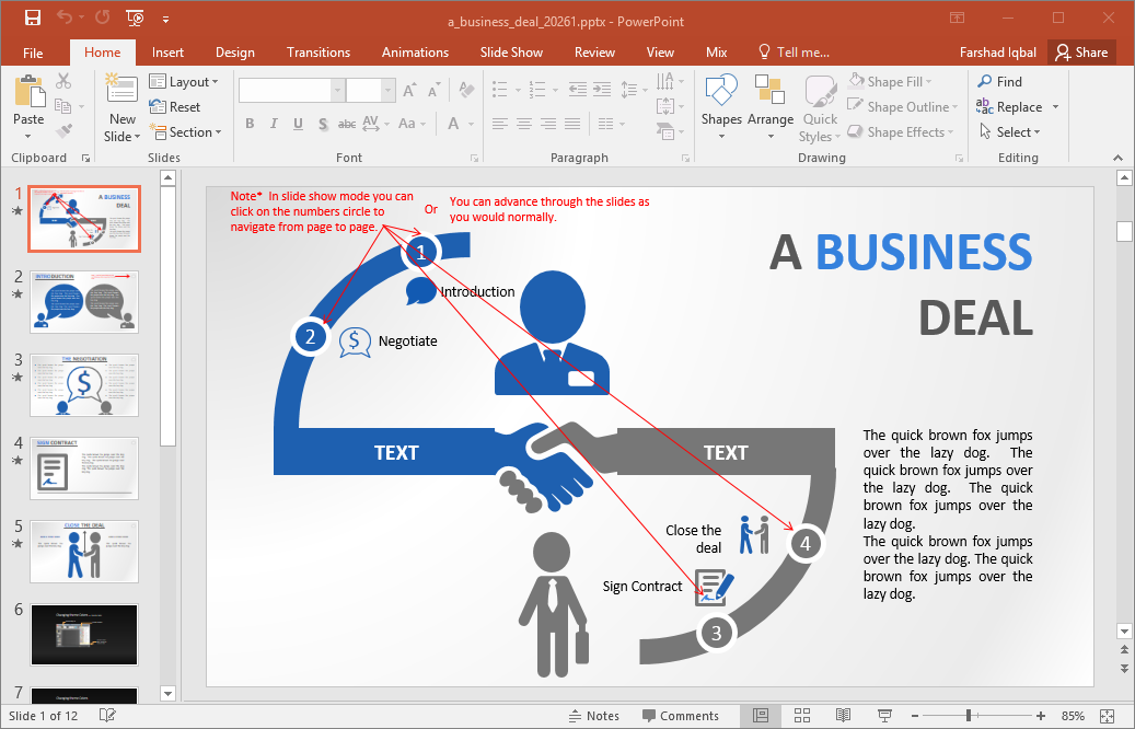 interactive business deal powerpoint template