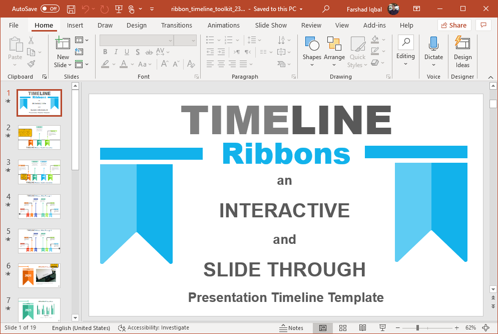 interactive timeline ribbons template for powerpoint