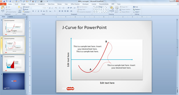 J-shaped curve for PowerPoint presentations