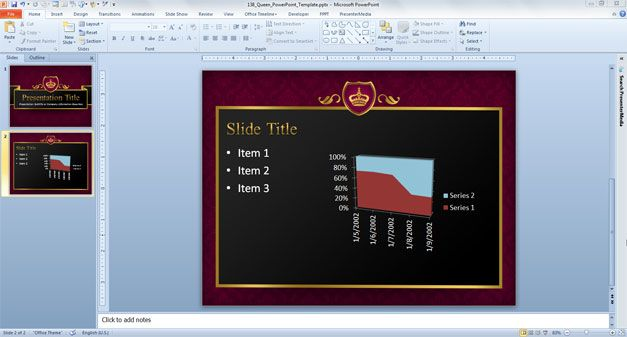 Free Queen PowerPoint template for presentations on Monarchy