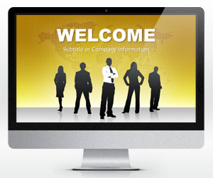 Widescreen Global Leadership Gold PowerPoint Template (16:9)