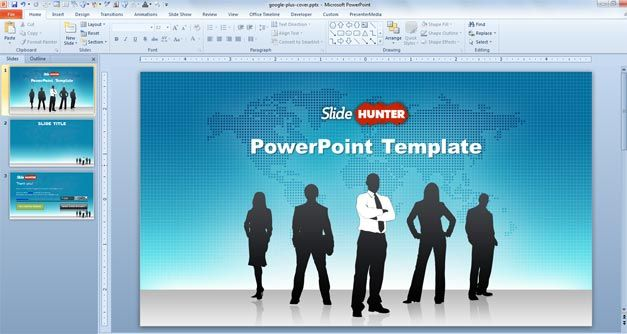 Free Leadership PowerPoint template with leaders in the cover slide