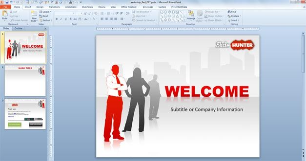 red business leadership powerpoint