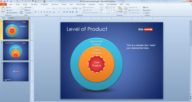 Onion Diagram with 3 Levels of a Product for PowerPoint