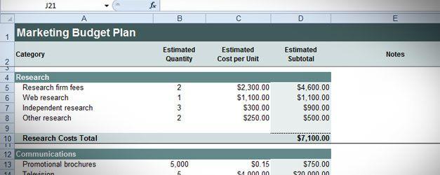 budget plan template