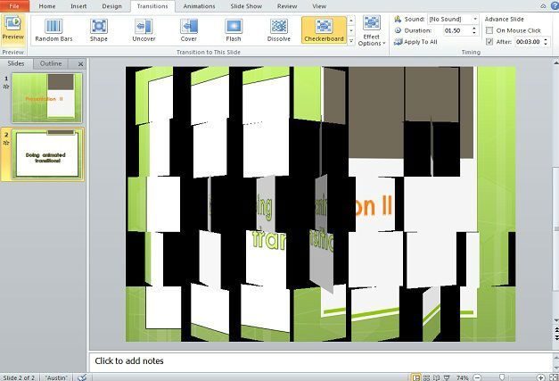 Example of transition in PowerPoint presentations